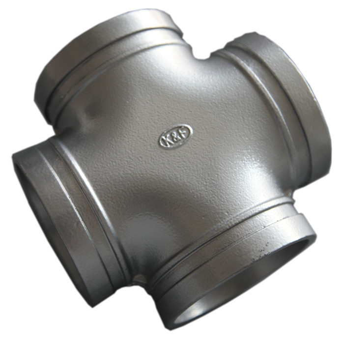 High End Ductile Iron Pipe Fittings , Grooved Pipe Couplings Equal Cross Epoxy