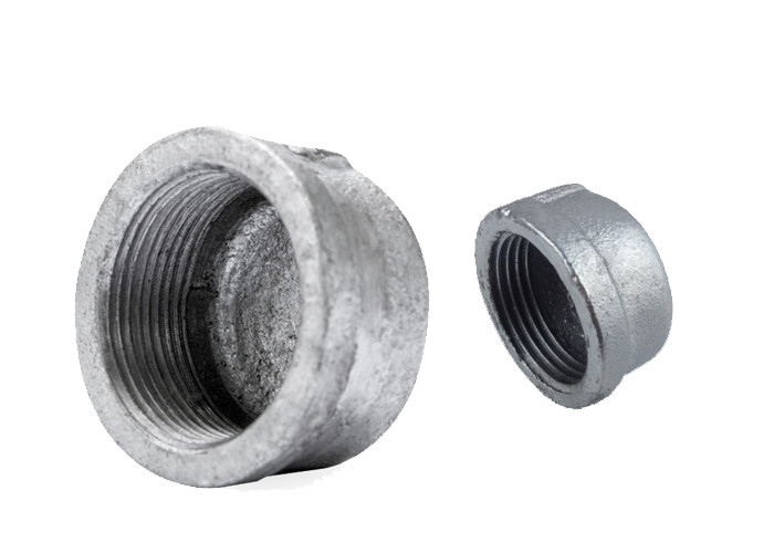 Gas Pipe End Cap Pipe Fitting , Round Water Line Cap Malleable Iron Material