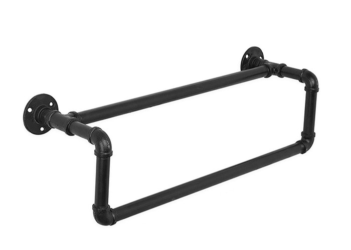Wall Mounted Industrial Pipe Towel Rack Black Towel Bar For Industrial Furniture